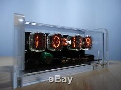 4 x IN-12 Nixie Tubes Clock acrylic case & white LED backlight steampunk retro