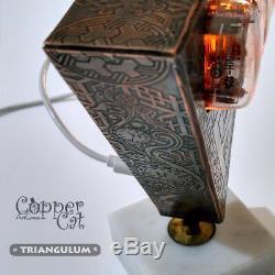 4x IN-12 Nixie Tubes Steampunk Alarm Clock Triangulum by Copper Cat Art Group
