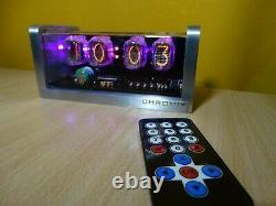 4xIN-12 Nixie Tubes Alarm Clock & remote control & aluminum case & pink LED