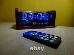 4xIN-12 Nixie Tubes Alarm Clock & remote control & red aluminum case & blue LED