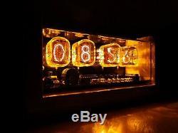 4xIN-12 Nixie Tubes Clock ash case alarm & yellow led backlight steampunk retro