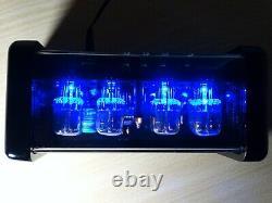 4xIN-12 Nixie Tubes Clock blue led backlight and alarm steampunk vintage retro