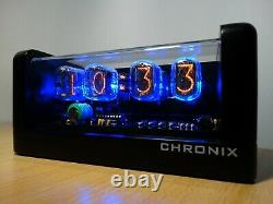 4xIN-12 Nixie Tubes Clock blue led backlight and black mat case and alarm retro