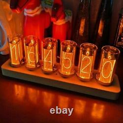 6-Digit LED Nixie Tube Alarm Clock Solid Wood Finished Christmas Gift Home Decor