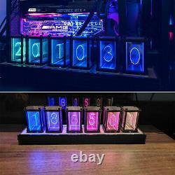 6-Digit Walnut RGB LED Tube Clock DIY KIT Retro Desk Shelf Clock Not Nixie Clock