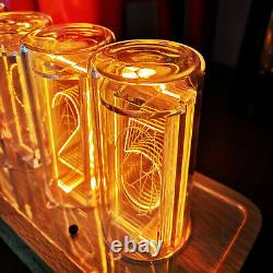 6 LED Nixie Tube Clock Creative Digital Retro Ornament Wood Glow Tube DIY Clock