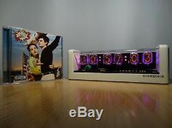 6xIN-12 Nixie Tubes Clock white mat case & pink led & alarm steampunk retro