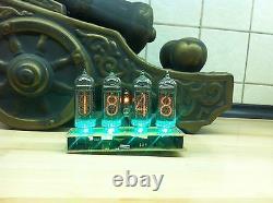 Clock Nixie IN14 4Tube Green Tubes Vintage Assembled Retro Clock No Wooden Box