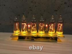 Clock Nixie IN14 6Tube Yellow Tubes Vintage Assembled Retro Clock No Wooden Box