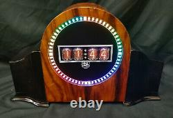 Contemporary Upcycled Designer Nixie tube Mantle Clock from Bad Dog Designs