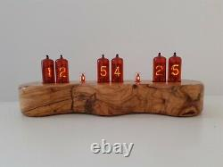Dacian Series by Monjibox Nixie Clock Z570M tubes in Olive wood case