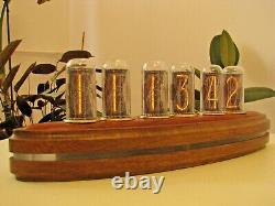 Deluxe ADMIRAL Monjibox Nixie Clock IN18 tubes brass rings