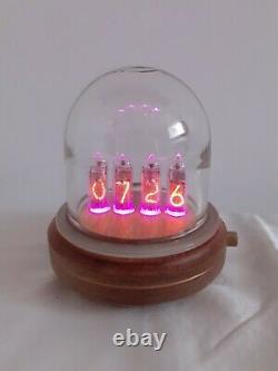 Glass Dome Oak base IN14 tubes Nixie Clock by Monjibox Nixie