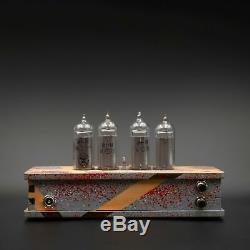 Handbemalte Nixie Tube Uhr IN-14 Retro Schreibtisch Vintage Nixie Uhr Holzkiste