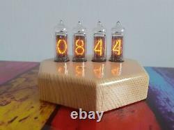 Heptagon Nixie IN14 clock wooden case Monjibox