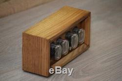 IN-12 Box Retro Vintage Nixie Tube Clock. Handmade Golden Oak