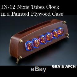 IN-12 Nixie Tubes Clock in a Painted Plywood Case GRA&AFCH