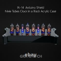 IN-14 Arduino Shield Nixie Tubes Clock Black Acrylic Case Temp sensor GPS Remote