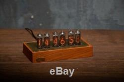 IN-14 NIXIE TUBE CLOCK Wood and brass case BLUE LED BACKLIGHT