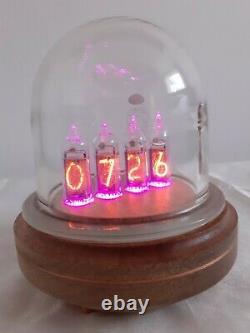 IN14 Nixie tubes Clock by Monjibox Nixie Glass Dome Oak base
