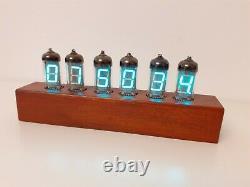 IV11 VFD Thermometer Hygrometer Alarm Clock with Wi-Fi Oak case Monjibox Nixie