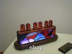 JoVitree CIUCAS Nixie Clock Z566M tubes Tiffany Stained Glass Case Monjibox