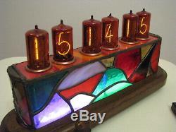 JoVitree artist Tiffany Stained Glass Z566M tubes Clock Nixie Monjibox