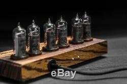Luna-2 Nixie tube clock in zebrawood and metal case in premium package