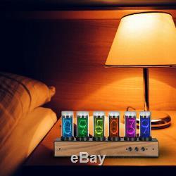 Modern Digital Gixie Clock 6-digit LED Creative Clock Ref Retro Nixie Tube Clock