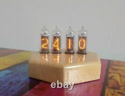 Monjibox Nixie Clock Uhr IN14 tubes in wooden case
