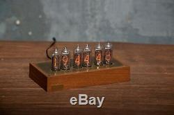 NIXIE TUBE CLOCK IN-14 in beech and brass case