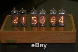 NIXIE TUBES CLOCK IN-14 Wood and brass case BLUE BACKLIGHT vintage watch