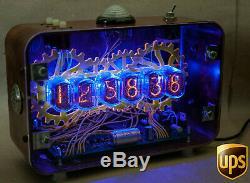 NIXIE Tube Steampunk Desktop Alarm Clock Handmade Vintage Retro Fallout Gift