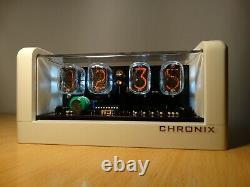 Nixie Clock 4 IN-12 tubes white mat case & alarm & white LED & expedited ship
