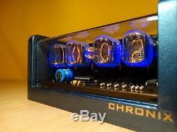 Nixie Clock 4xIN-12 tubes blue metallic case & alarm steampunk retro vintage