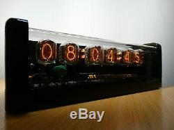 Nixie Clock 6 IN-12 tubes black glossy case & alarm & yellow LED steampunk