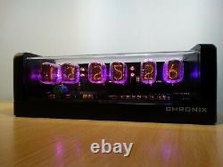 Nixie Clock 6 IN-12 tubes black mat case & alarm & pink LED steampunk