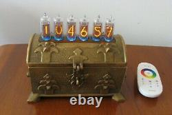 Nixie Clock IN14 tubes and RGB LEDs in Brass Vintage Case by Monjibox Nixie