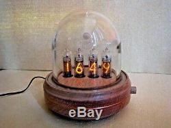 Nixie Clock by Monjibox Glass and Wood Case IN14 tubes