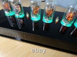 Nixie Clock with 6 Z573M tubes RGB backlight black acrylic case retro steampunk