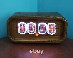 Nixie Clock with IN-12 Tubes Wooden Case RGB Backlight