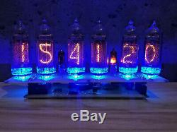 Nixie Tube Assembled Big Desk Clock and Calendar Vintage IN-14 x 6 Russian blue