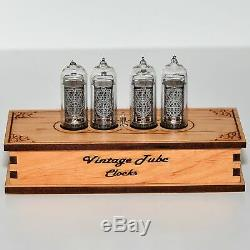 Nixie Tube Clock 4x IN-14 Nixie Clock Vintage Retro Desk Wooden Table Clock