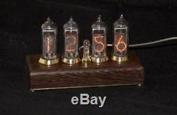 Nixie Tube Clock IN-14 Vintage Re from the mahave of mahogany wenge