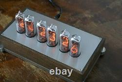 Nixie Tube Clock IN-14 Wood and Stainless Steel Case Vintage Desk Clock