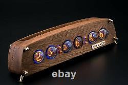 Nixie Tubes Clock IN-4 Case Oak Case Format 12/24H Temp F/C Slot Machine