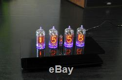 Nixie Tubes Clock with 4 pieces Z570M tubes with RGB backlight Alarm and Chimes