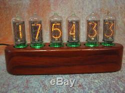 Nixie clock IN8-2 tubes Padouk case Jewel Series Monjibox