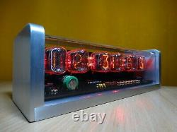 Nixie clock with 6x IN-12 tubes & CNC machined aluminum case & red LED & alarm