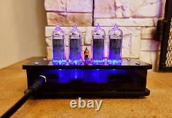 Nixie clock with IN-14 tubes & neon dot black translucid case & blue backlight